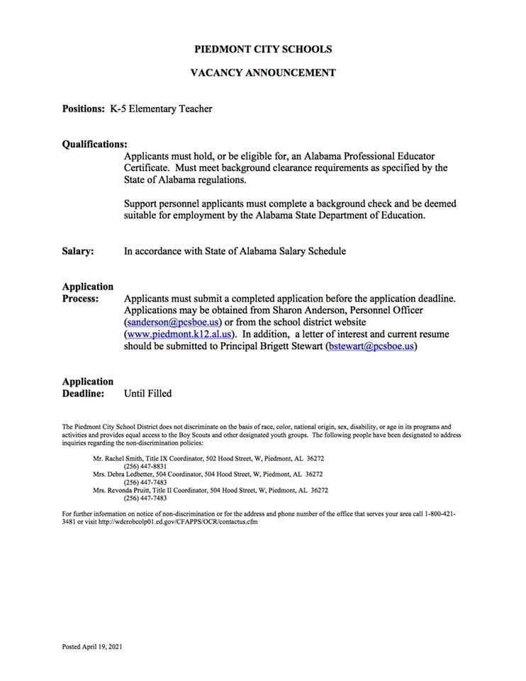 Job posting for Elementary Teacher