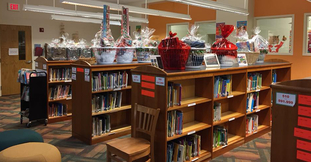 Library Media Center with baskets