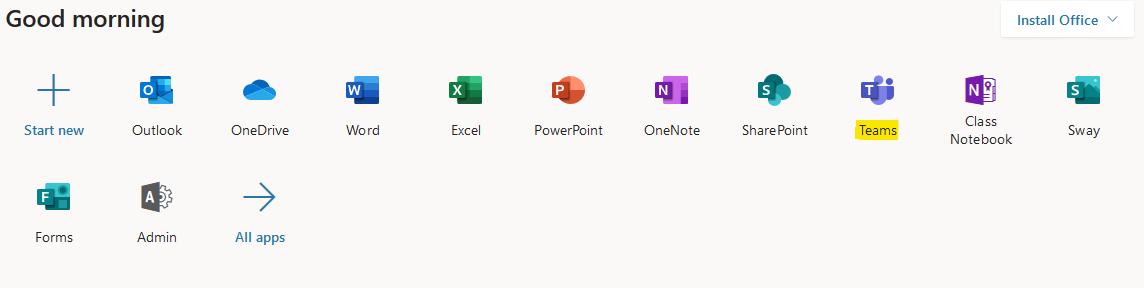 Office 365 Menu