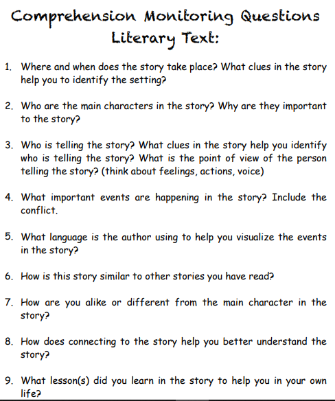Comprehension Questions for Literary Text