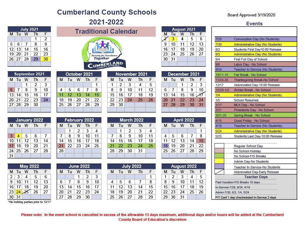 2021-2022 Cumberland County Schools Traditional Calendar