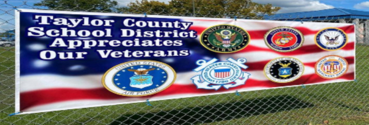 Sign at TCHS supporting veterans