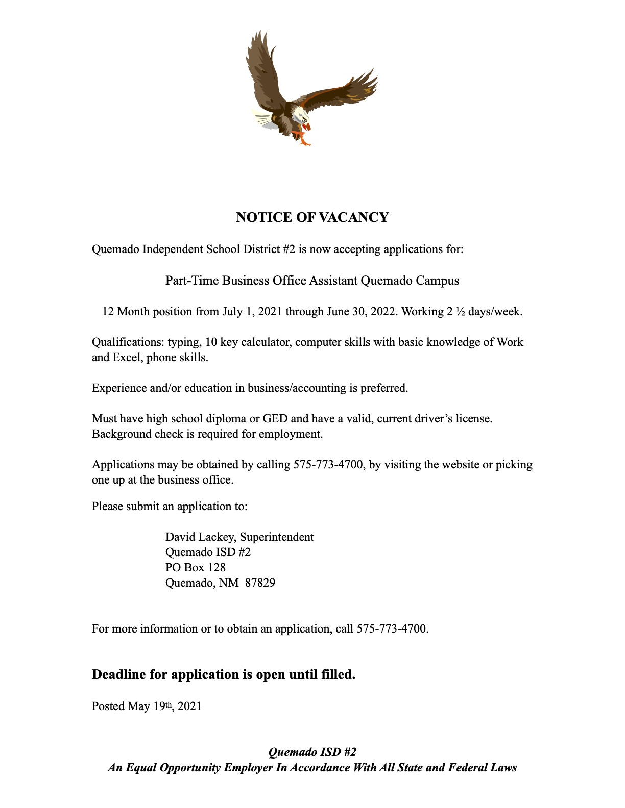 Business office vacancy