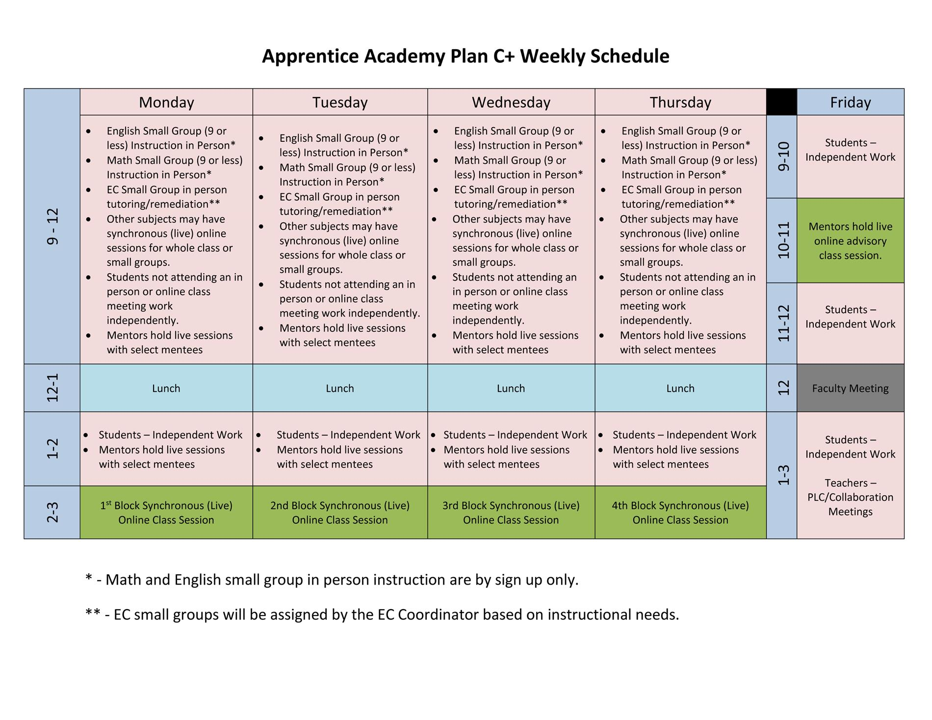 daily instructional grid for Option C