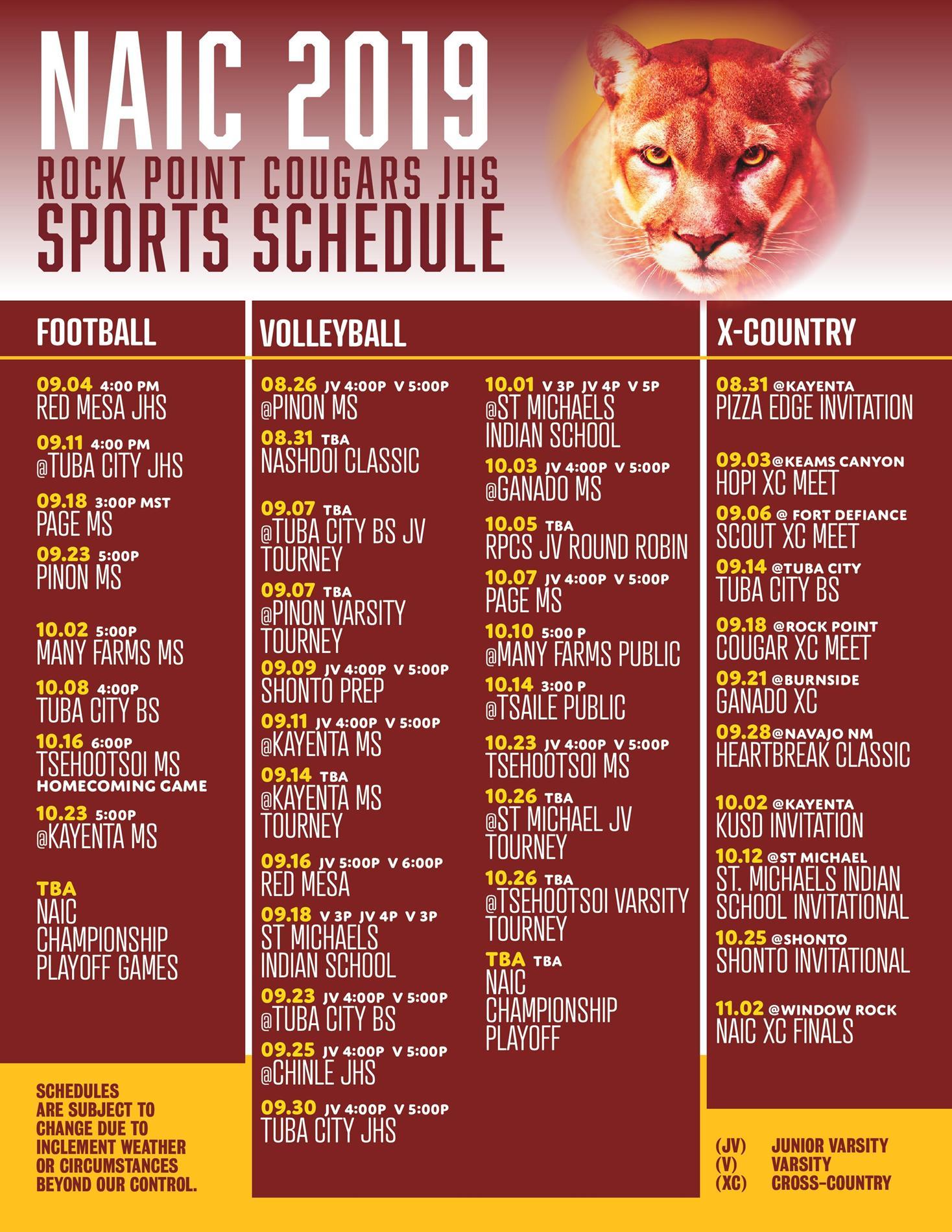 2019 Fall JH Sports Schedules