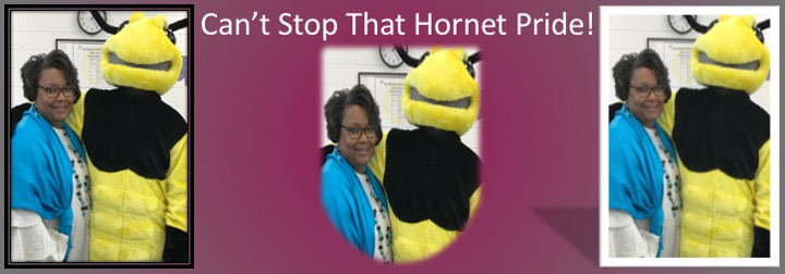 Superintendent Harris with the Hornet Mascot