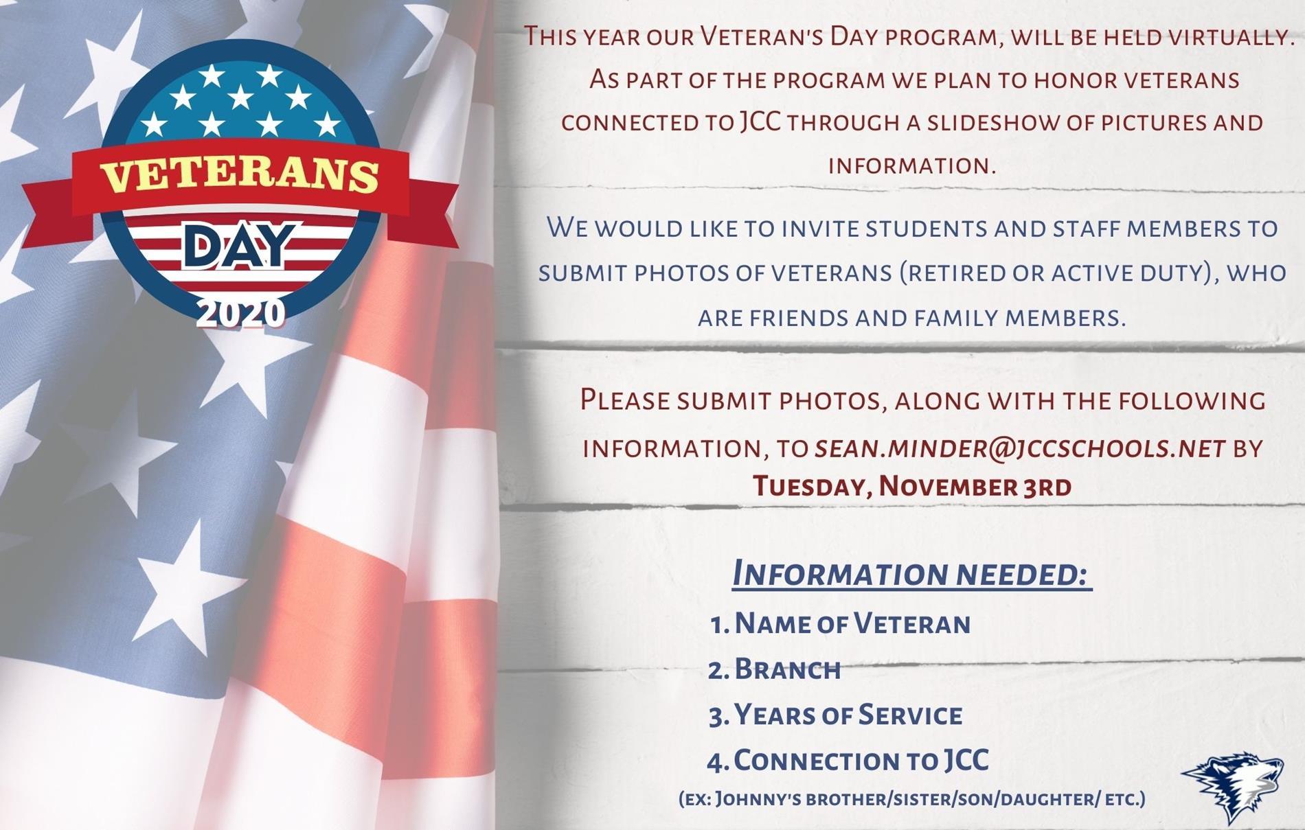 Veteran's Day 2020, JCC Veteran's Day Program