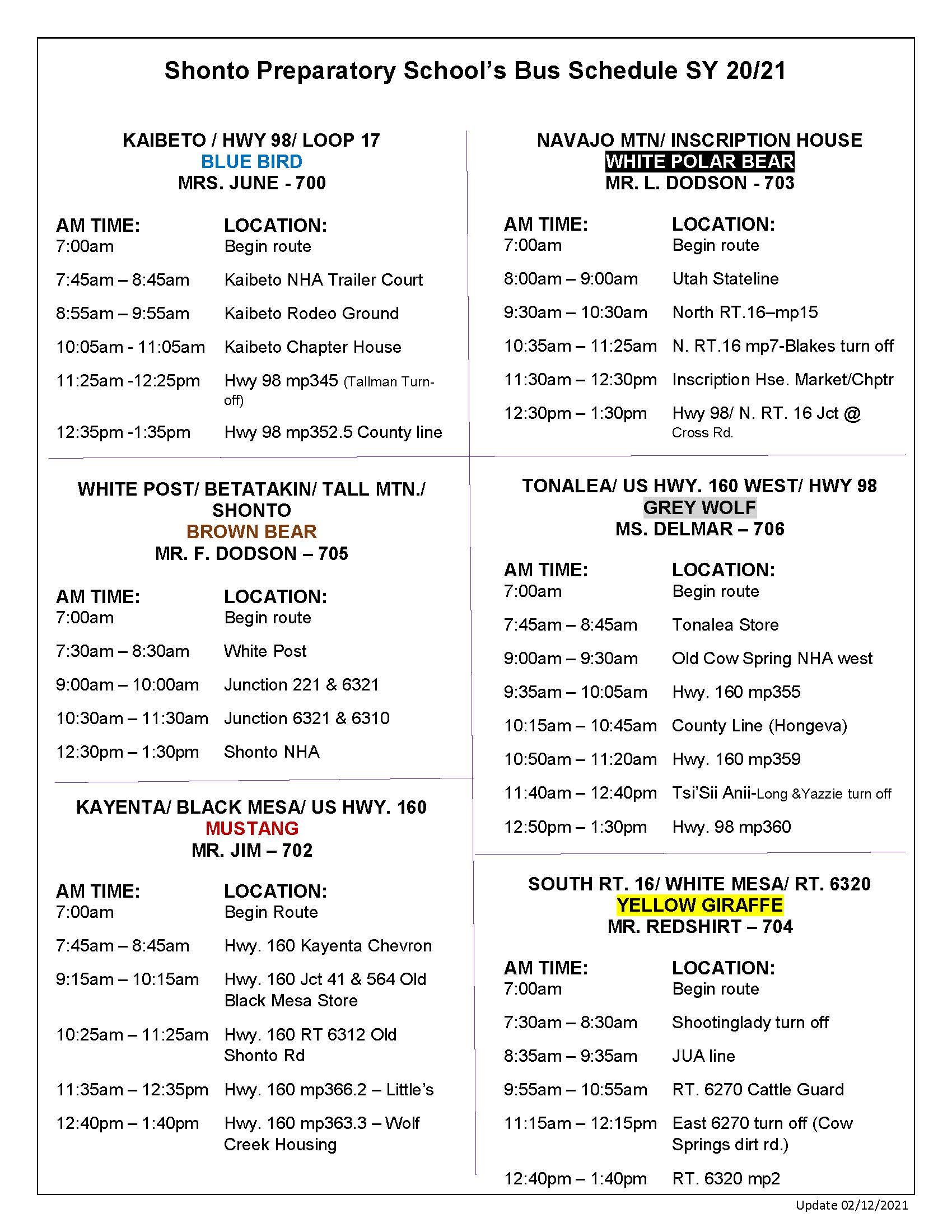 bus schedule