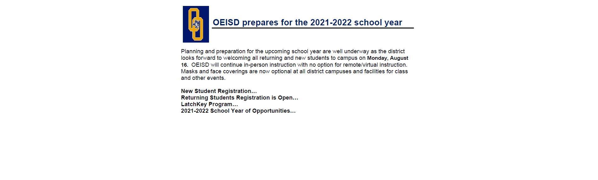 OE-ISD Prepares for 2021