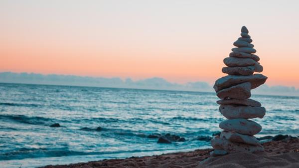 Ocean and stacked rocks