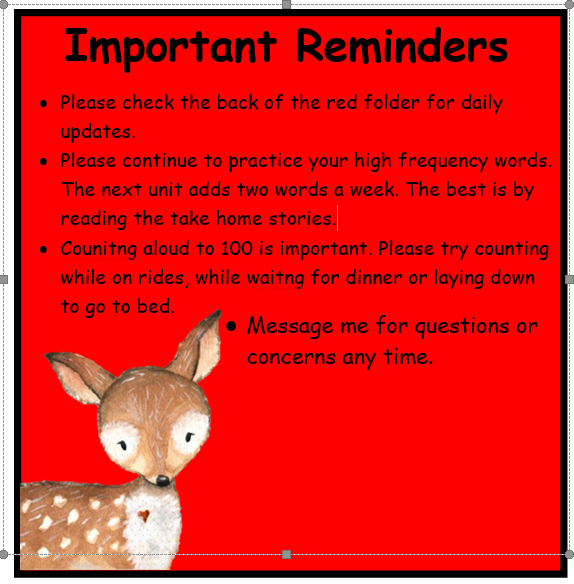 Important Reminders March