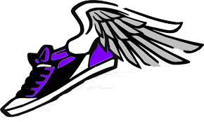 Picture of a purple sneaker with wings