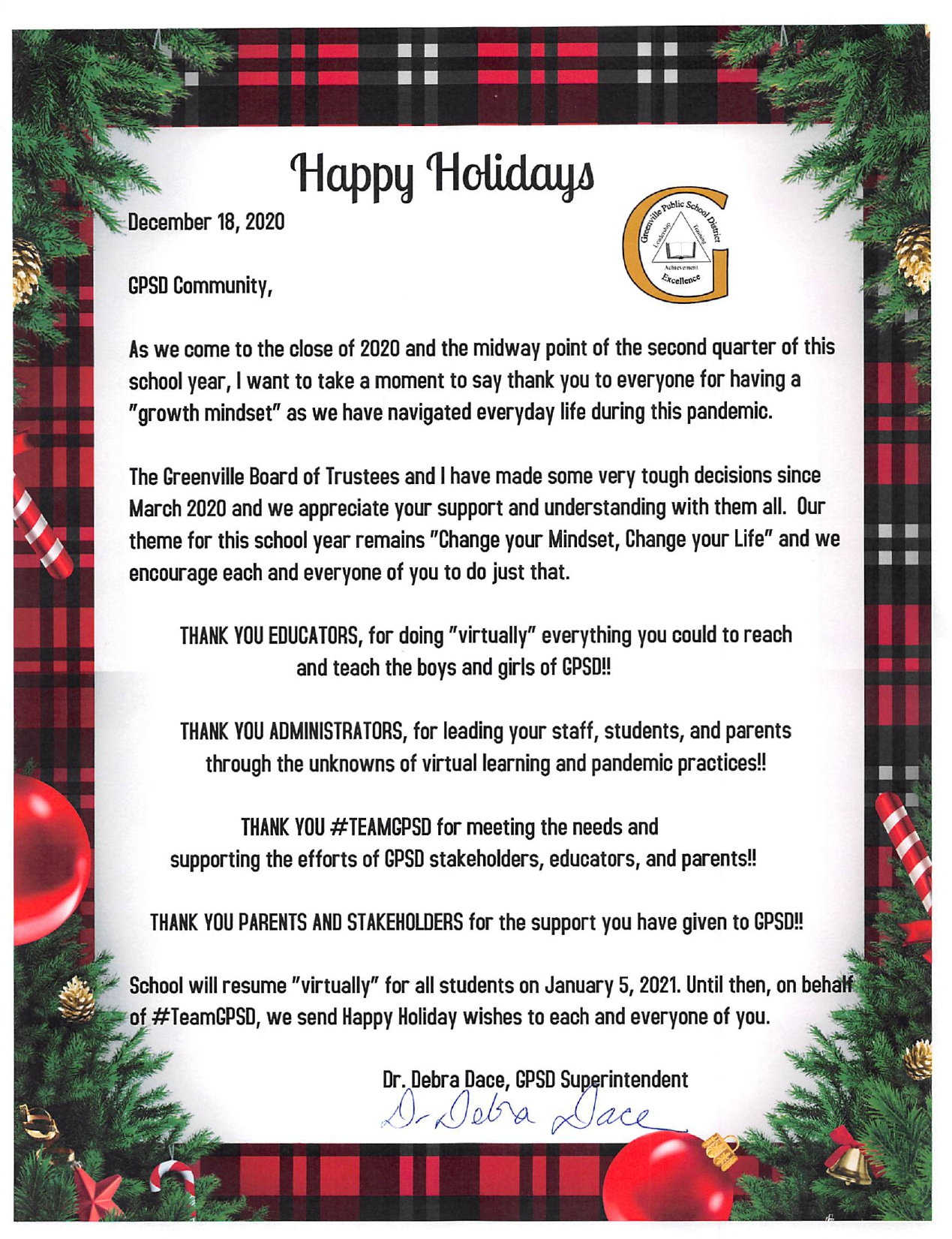 Season Greetings from Greenville Public School District