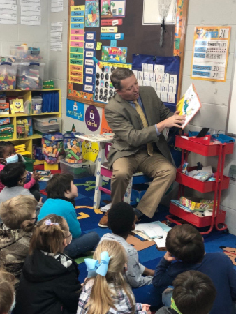 """Mr. Howell reading """"Green Eggs and Ham"""""""