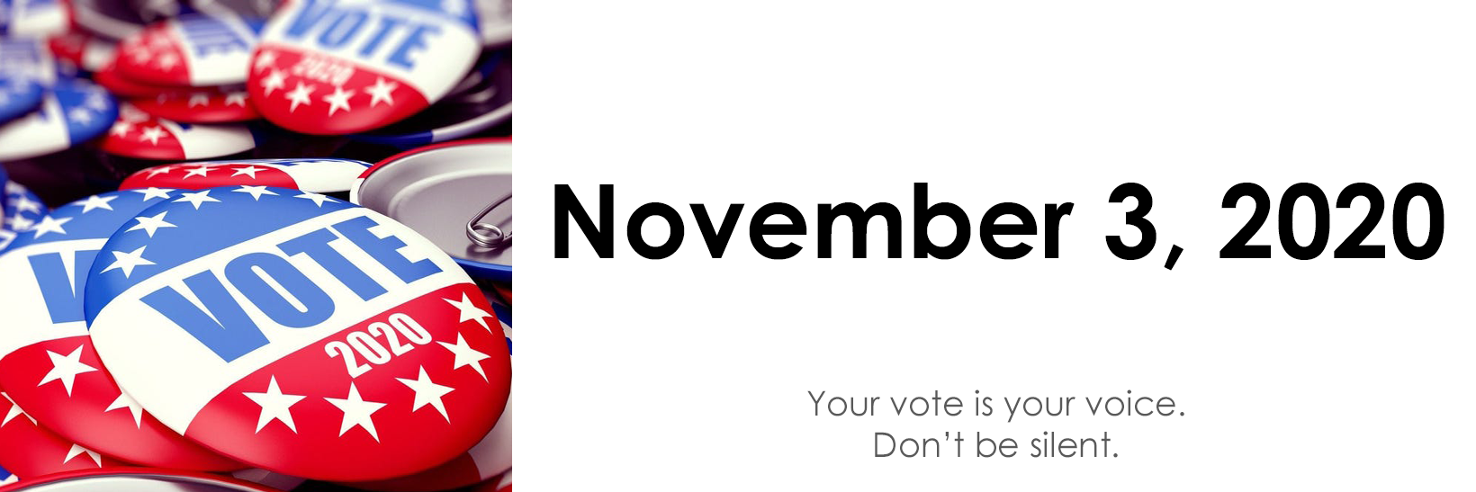VOTE November 3, 2020. Your vote is your voice. Don't be silent.