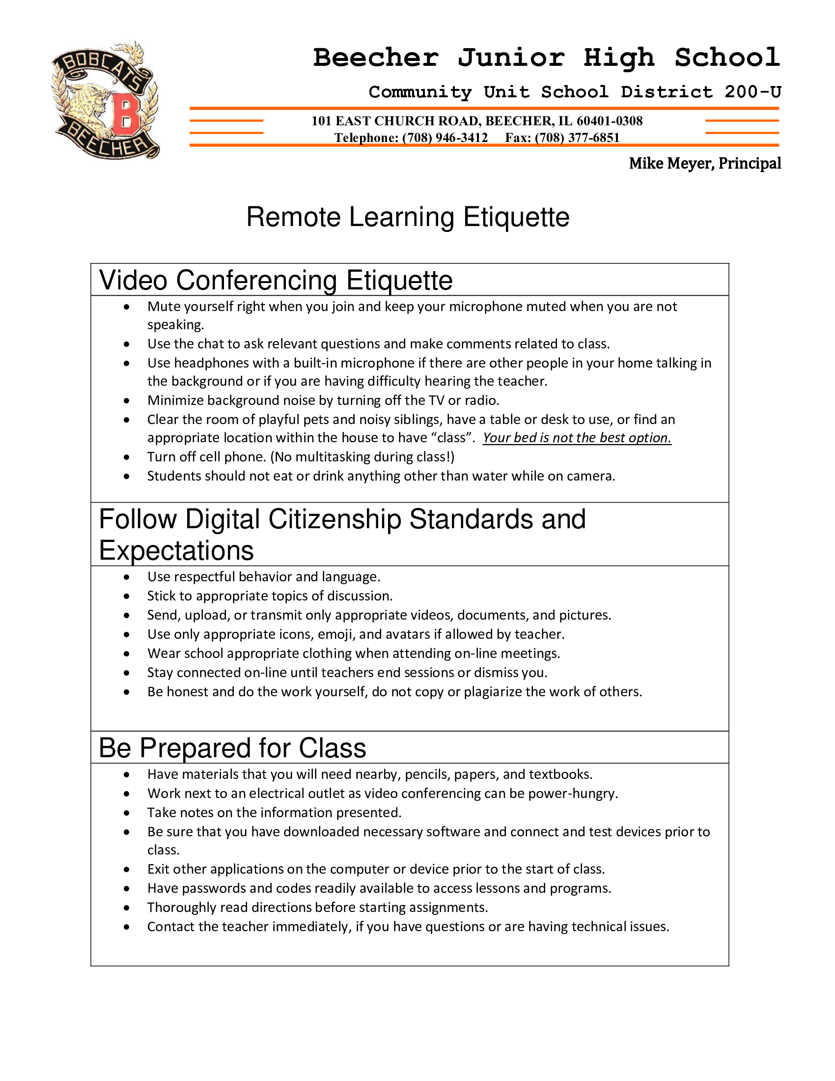 BJHS Remote Learning Etiquette