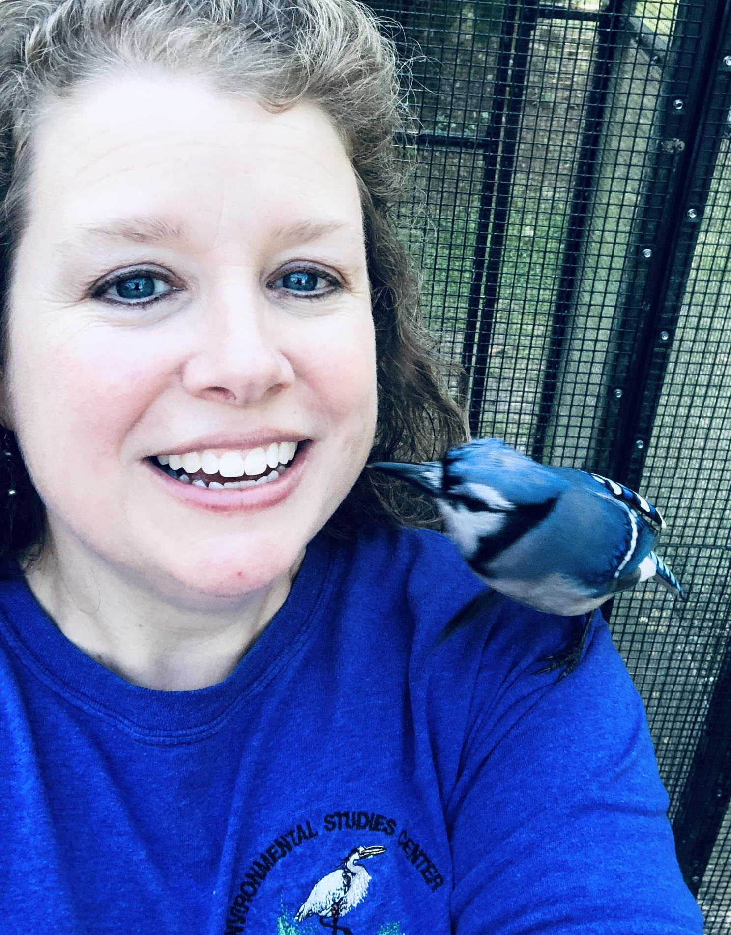 Tracy with a Blue Jay
