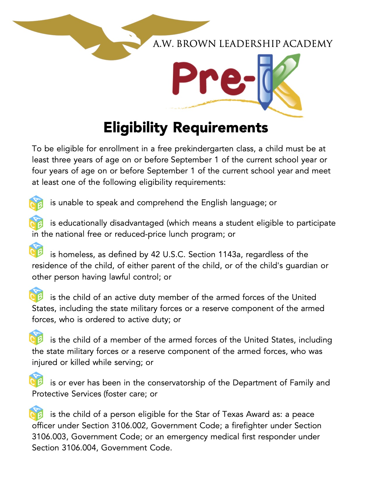 PreK Eligibility Requirements