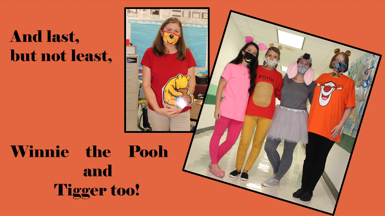 Teachers dressed as Winnie the Pooh, Eeyore, Piglet and Tigger