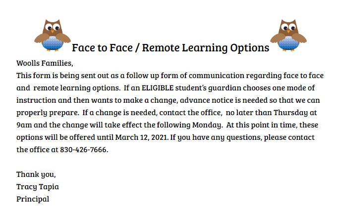 Woolls Remote Option Notice