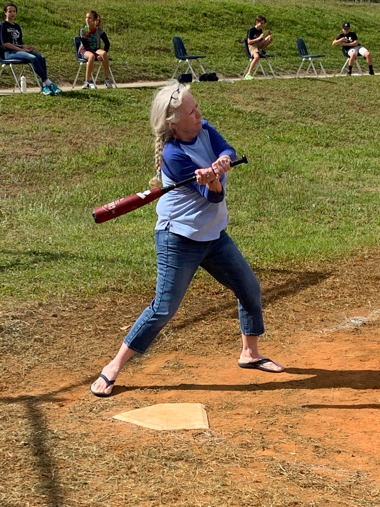 Mrs. Landen up to bat