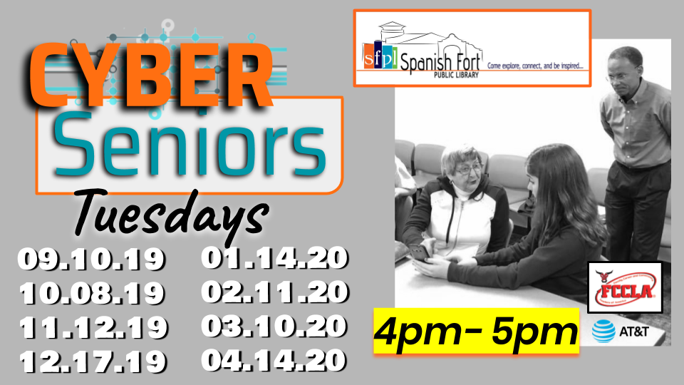 Image with dates for 2019 - 2020 Cyber Senior classes at SFPL