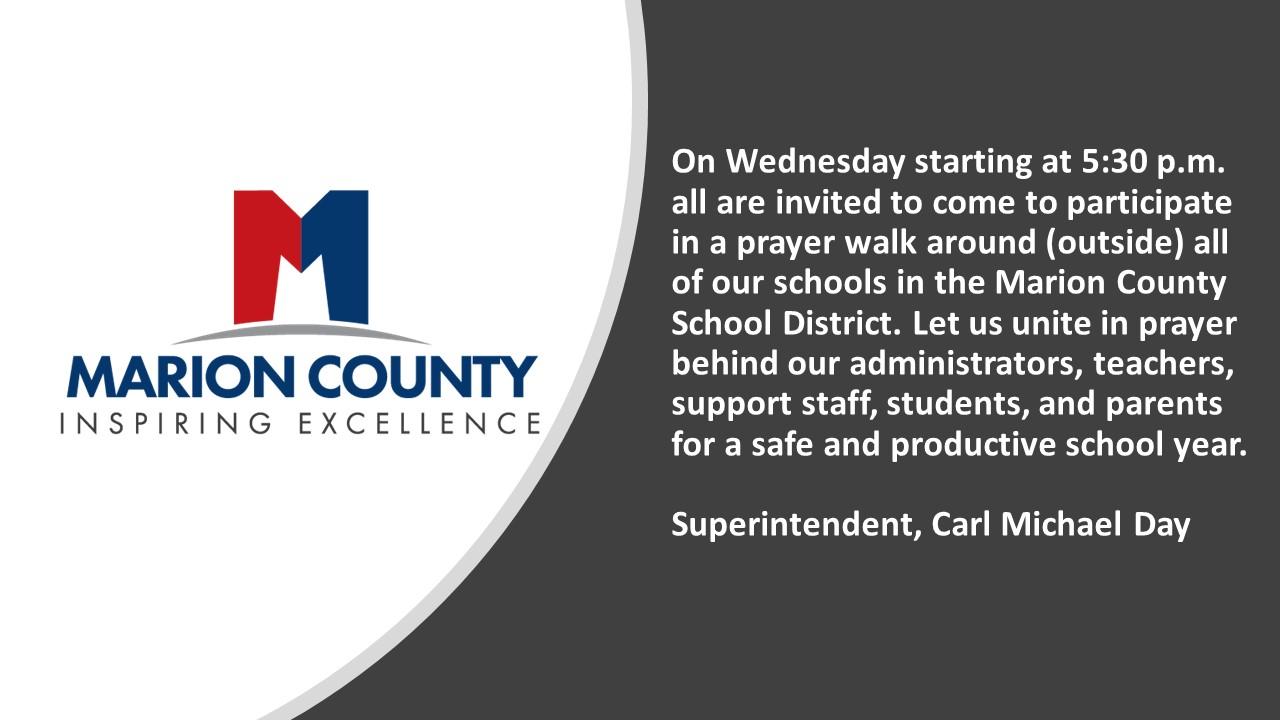 Prayer Walk Wed. 8-4-21 at 5:30 p.m.