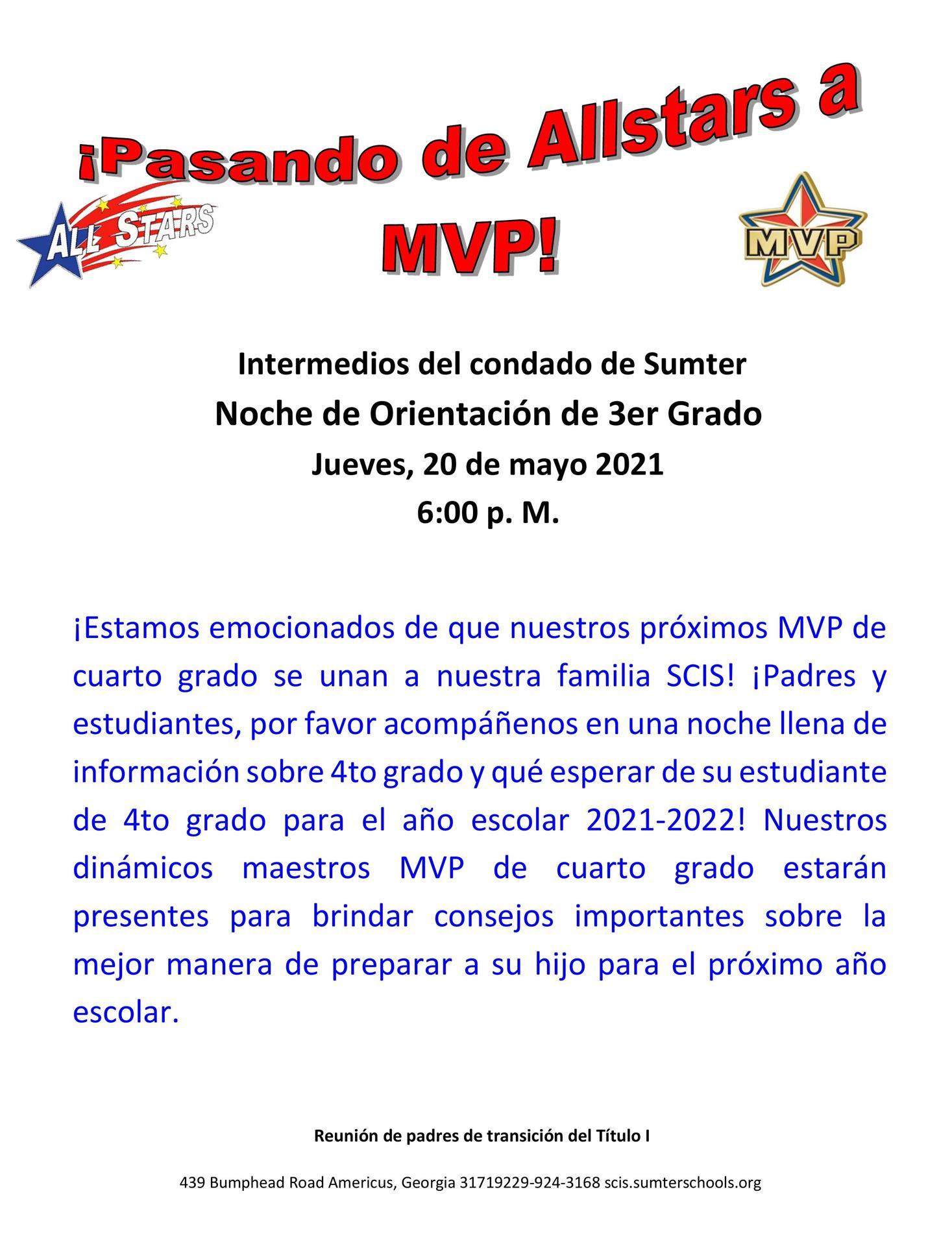 4th Grade Transition Flyer - Spanish