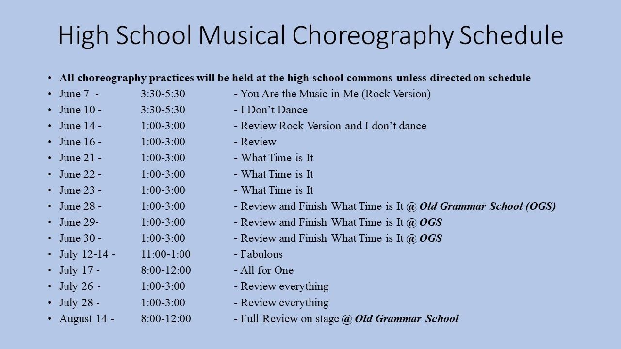 High School Musical Schedule