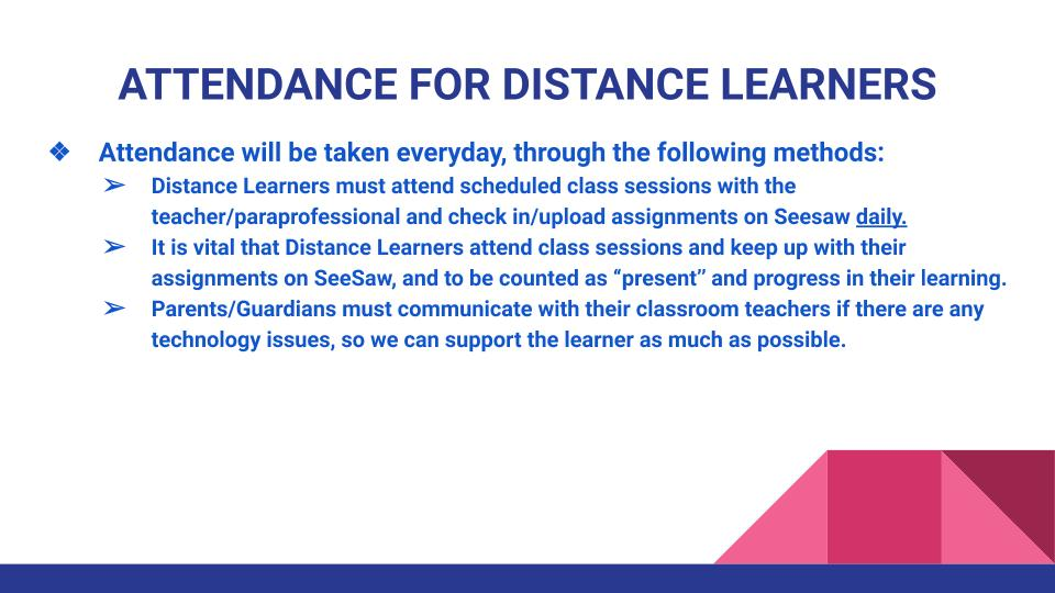 Attendance for distance learners