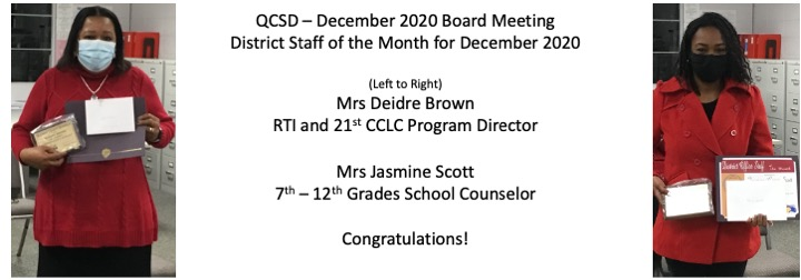 Mrs Brown and Mrs Scott December 2020 District Staff Spotlight