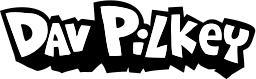 Dav Pilkey official text logo with link to Kids Stuff page of official website