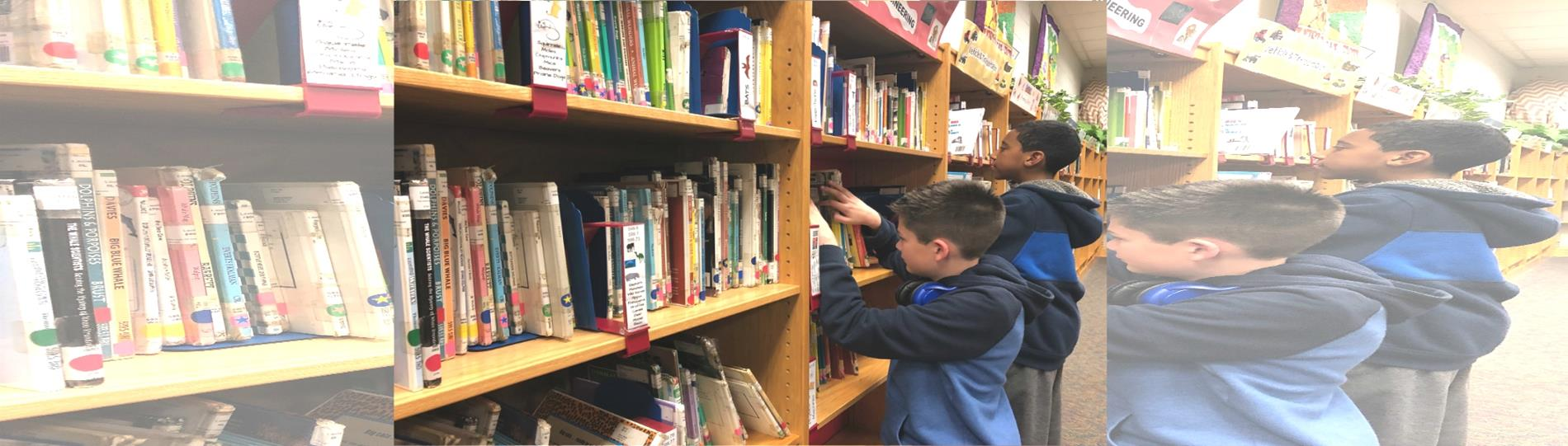 Kids looking for books