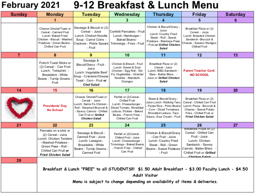February Lunch/Breakfast Menu