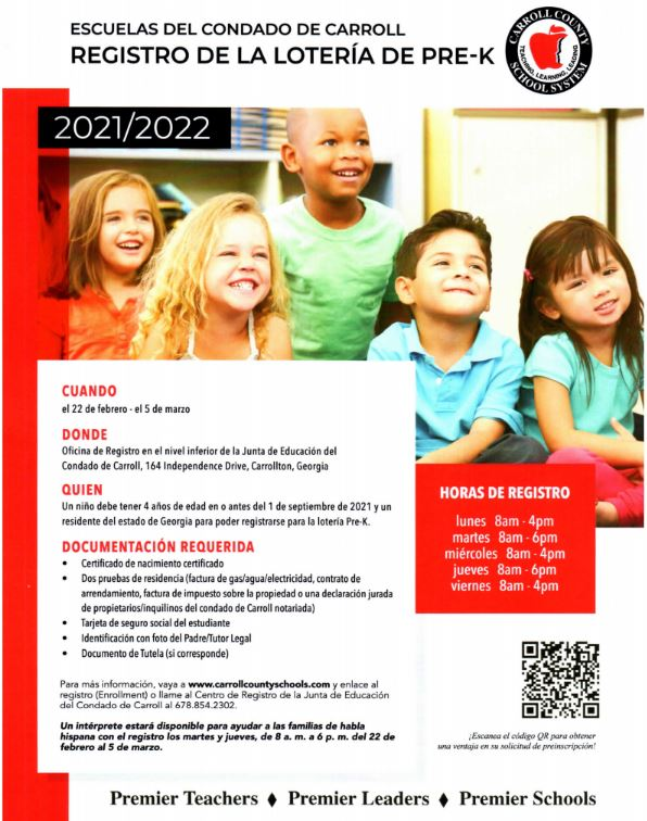 PreK Registration Flyer in Spanish