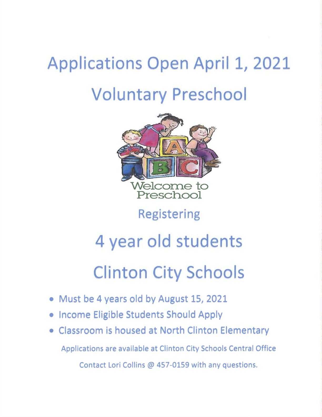 Pre-Kindergarten Registration Information