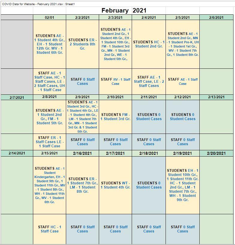 February 2021 COVID-19 Data
