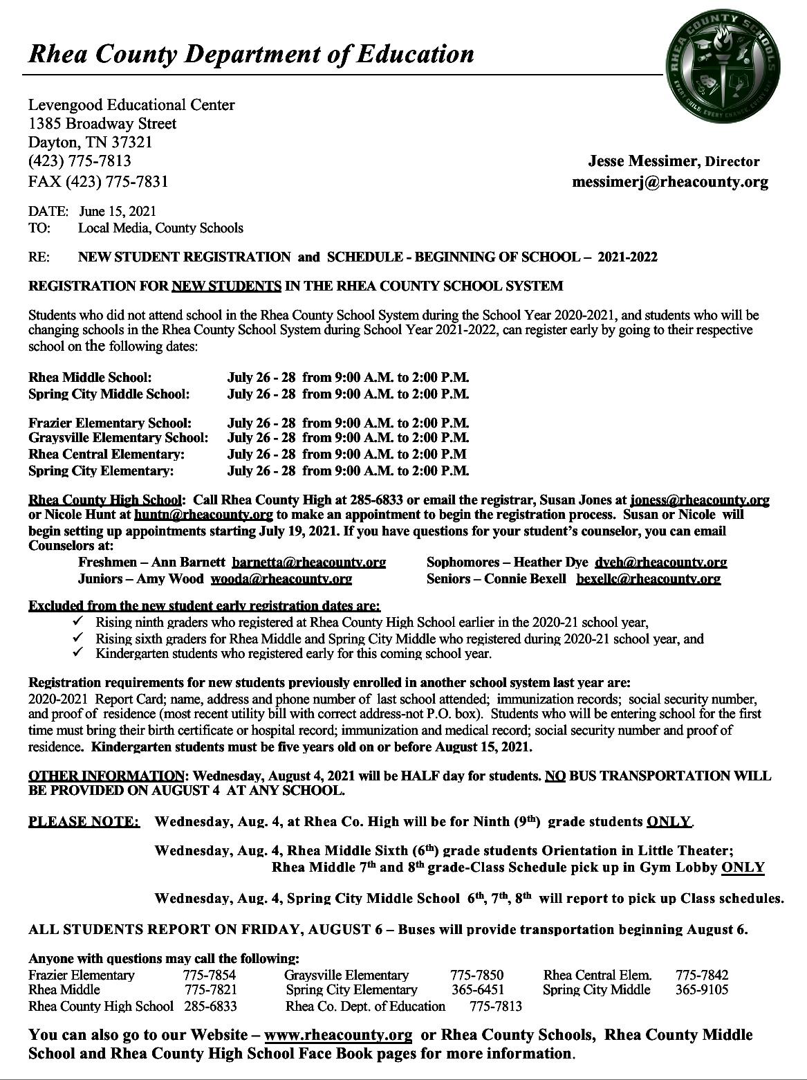 New Student Registration 2021 22