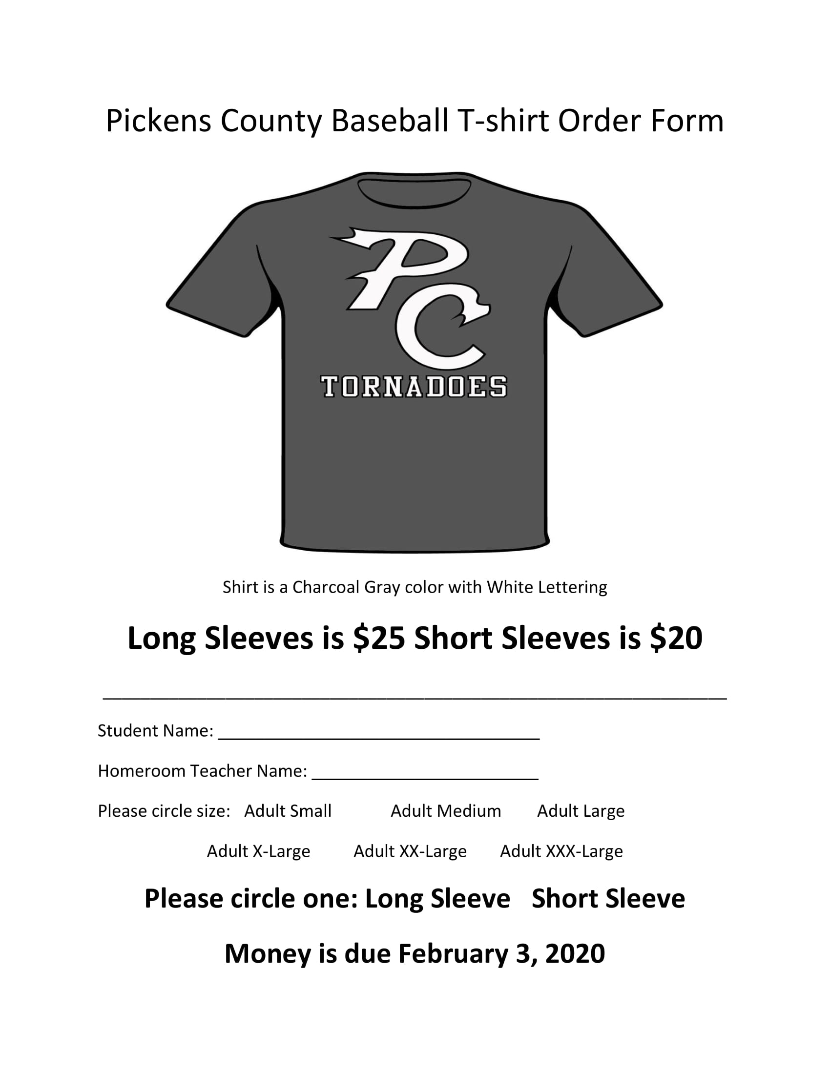 Baseball T-shirt Order Form