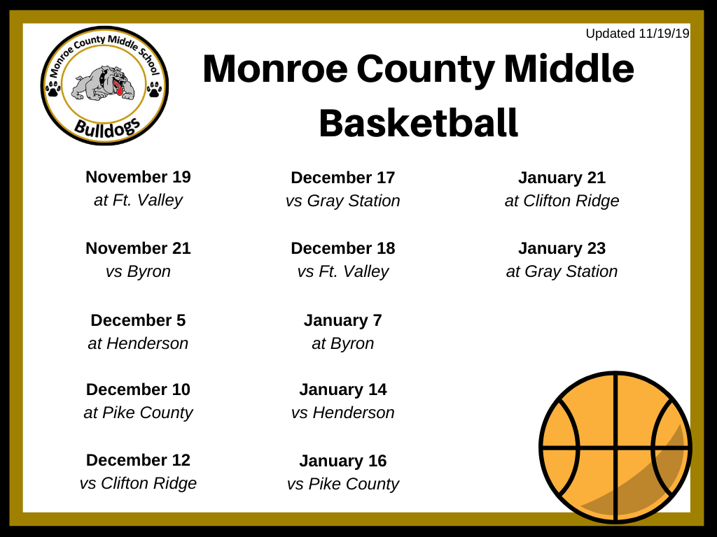 MCMS Basketball Schedule