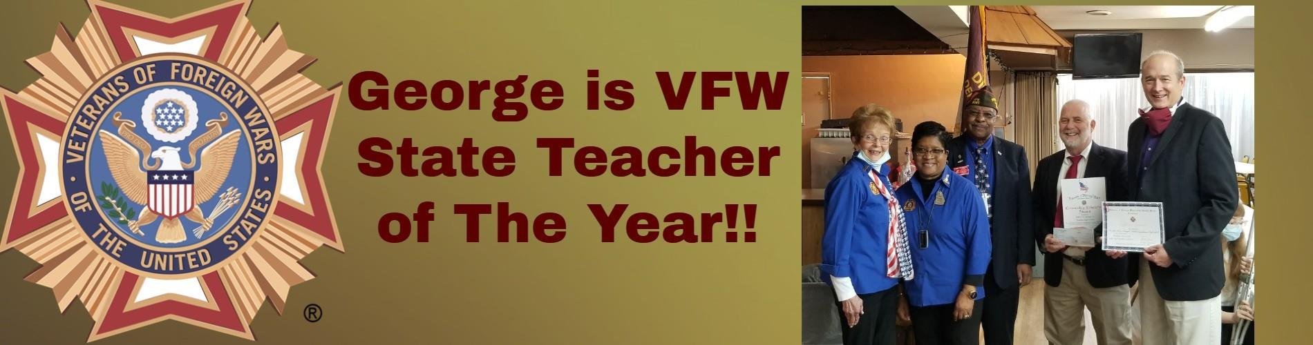 Bobby George Receives State VFW Teacher of the Year Award