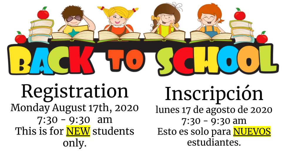 Back to School Registration Monday August 17th, 2020