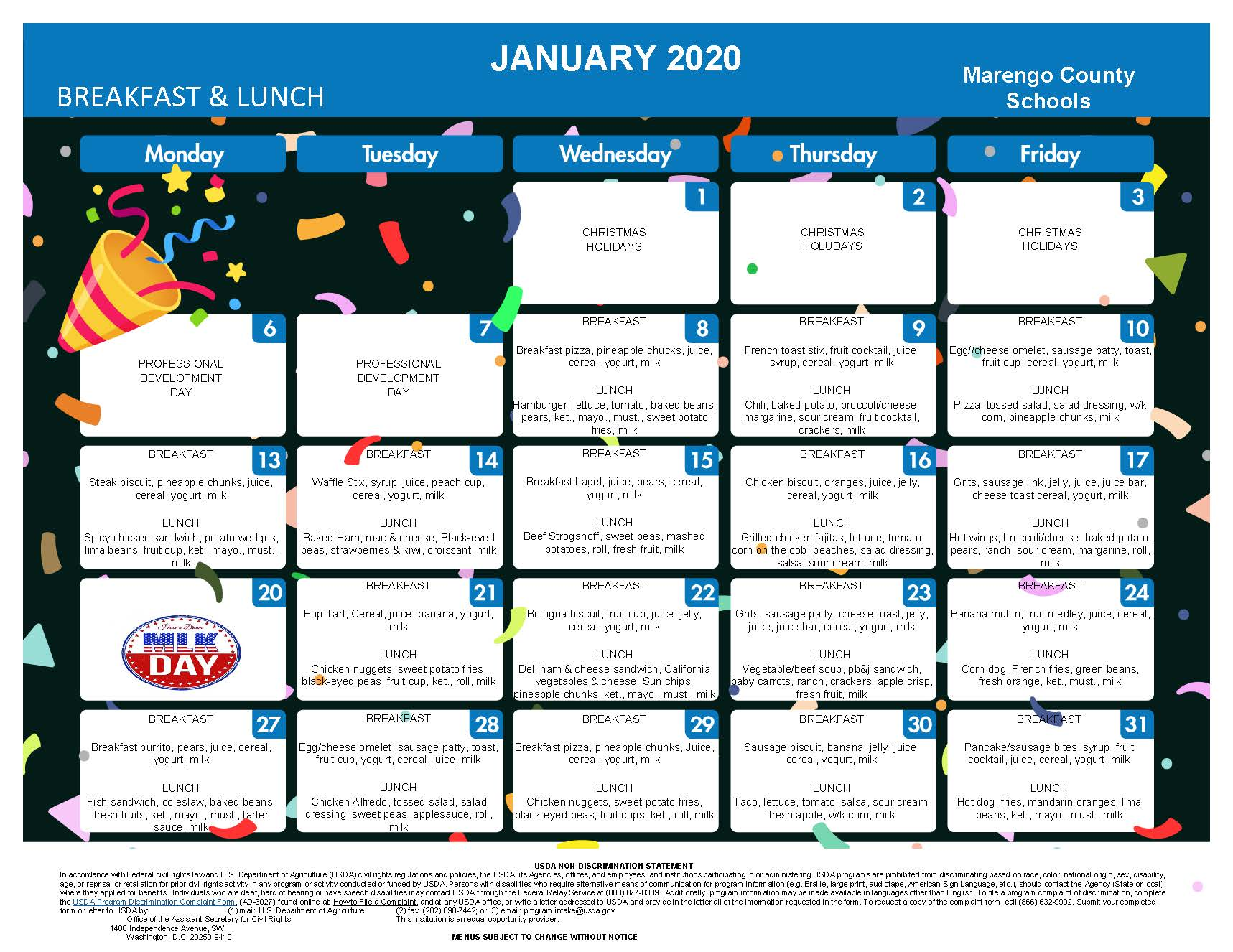 January lunch Schedule