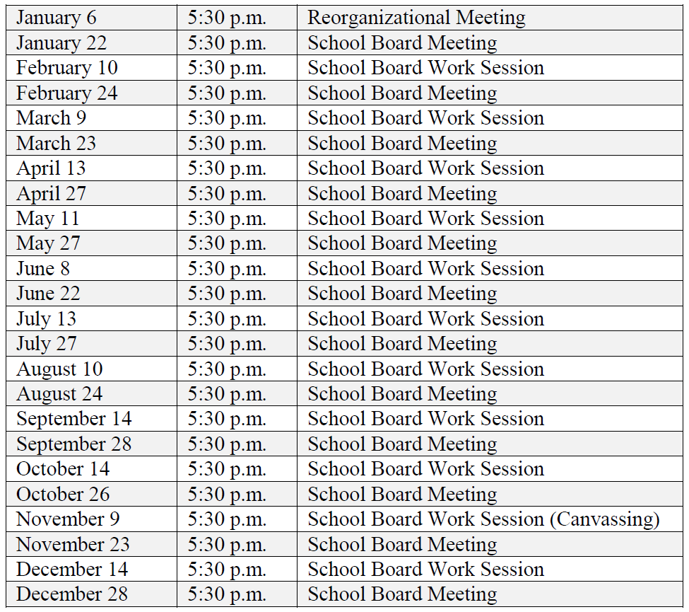 Image of 2020 School Board Meetings