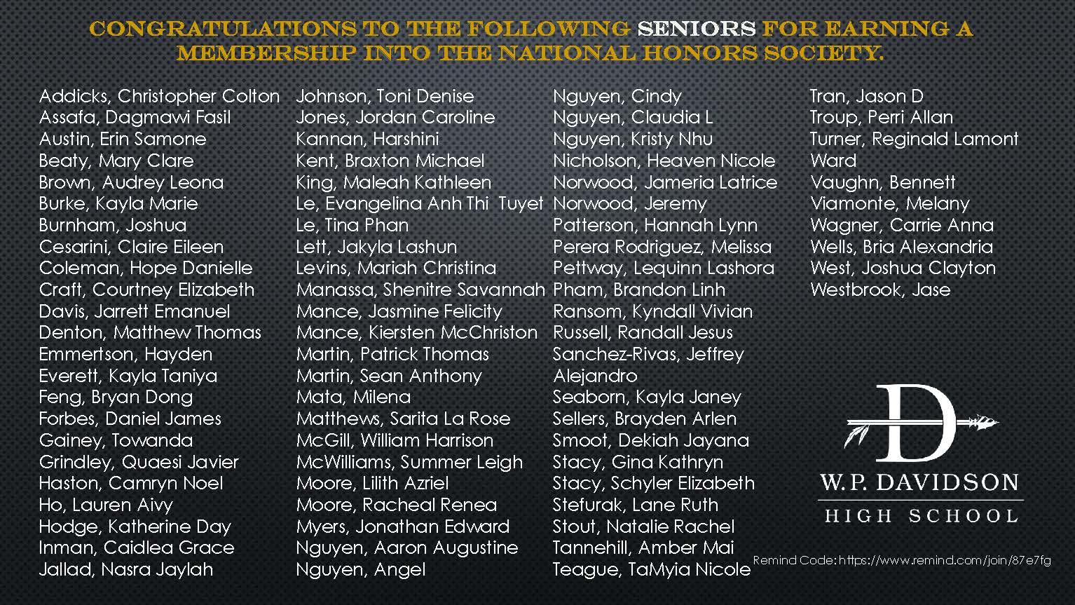 nhs senior inductees