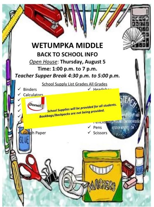School supplies are free to all students this year! You only need a backpack!