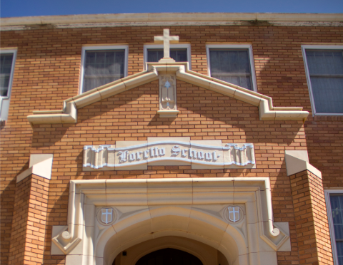 front of the school