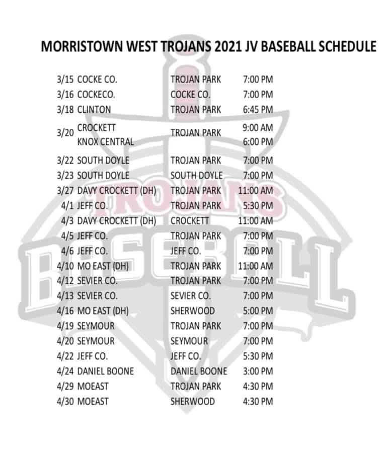 JV Baseball schedule