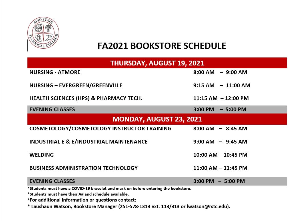 Bookstore Schedule