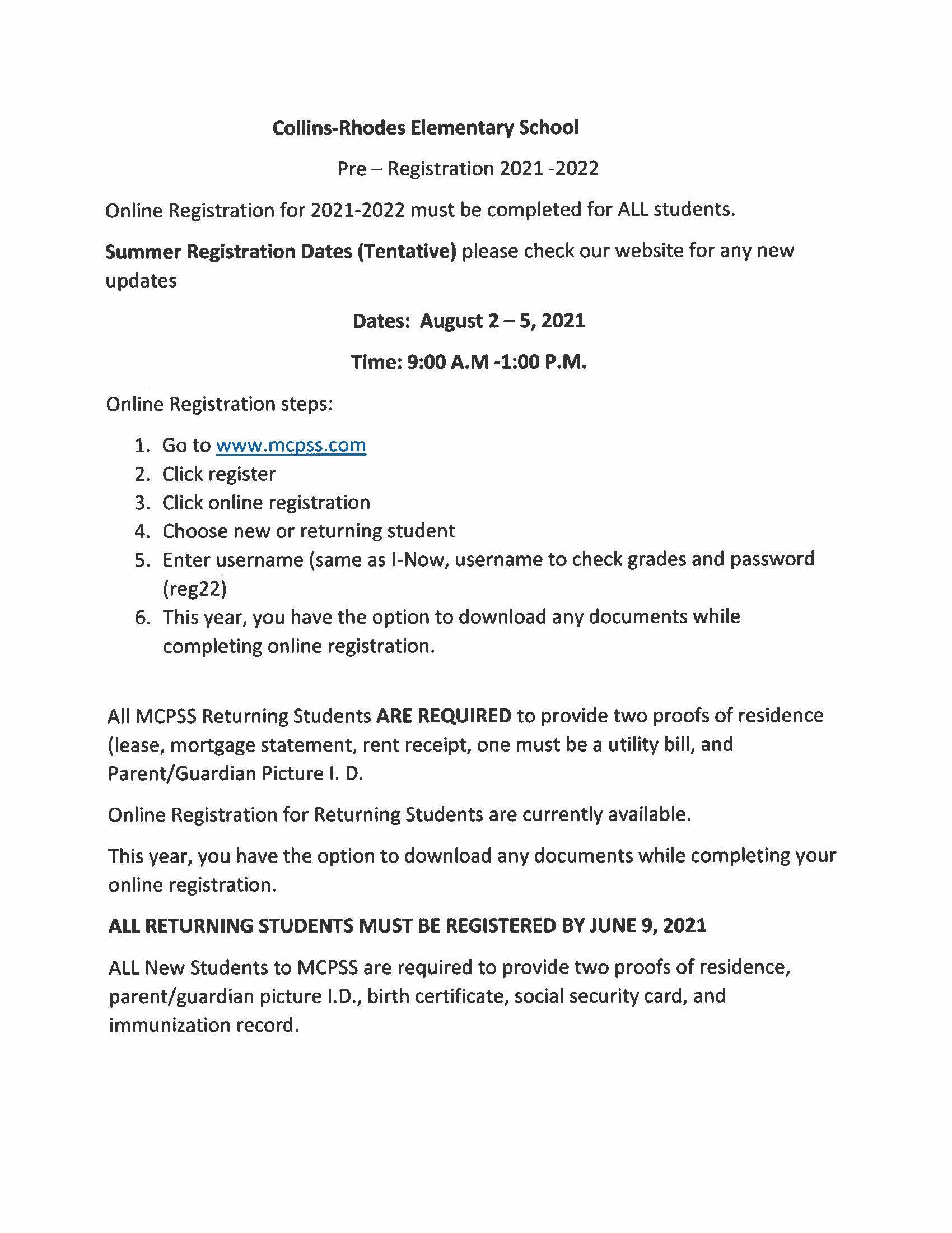 preregistration flyer register